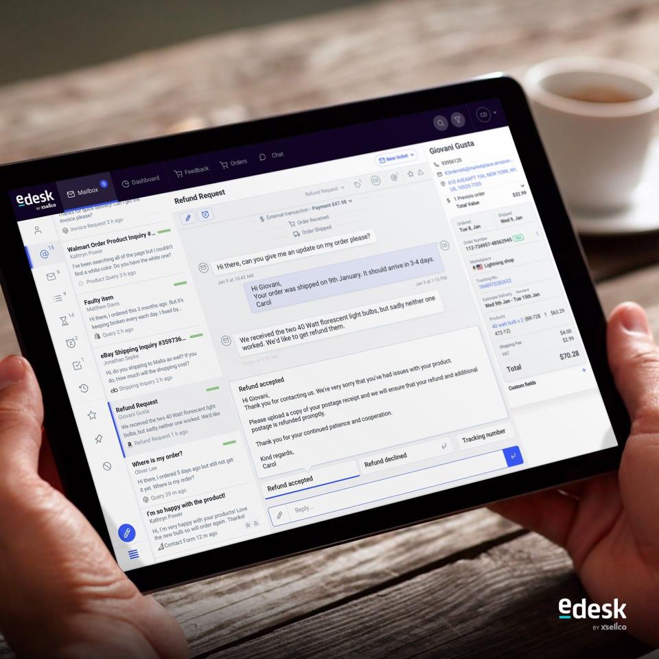 eDesk Software - The eDesk message screen
