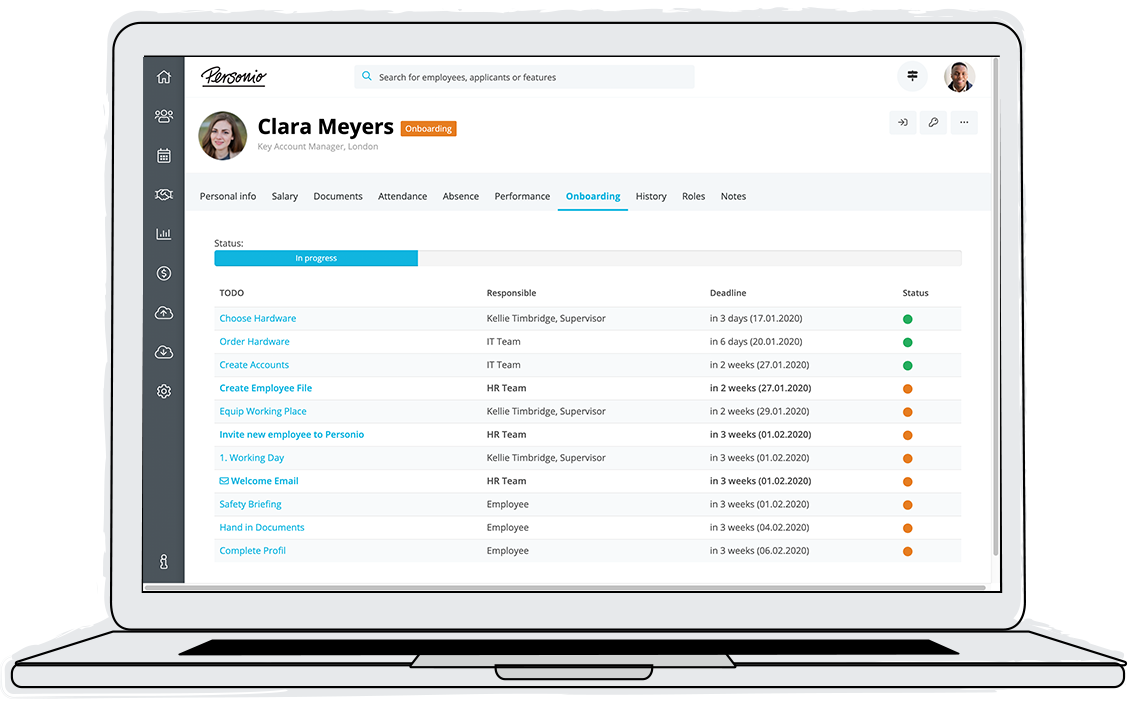Ensure that new employees can be productive as soon as possible and improve coordination during the onboarding process. Onboarding tasks can be viewed centrally, and task owners are automatically reminded of pending tasks until they are completed.