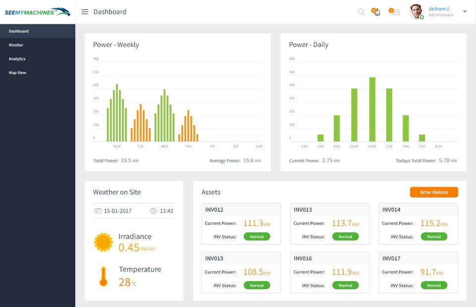 SeeMyMachines screenshot: SeeMyMachines dashboard screenshot