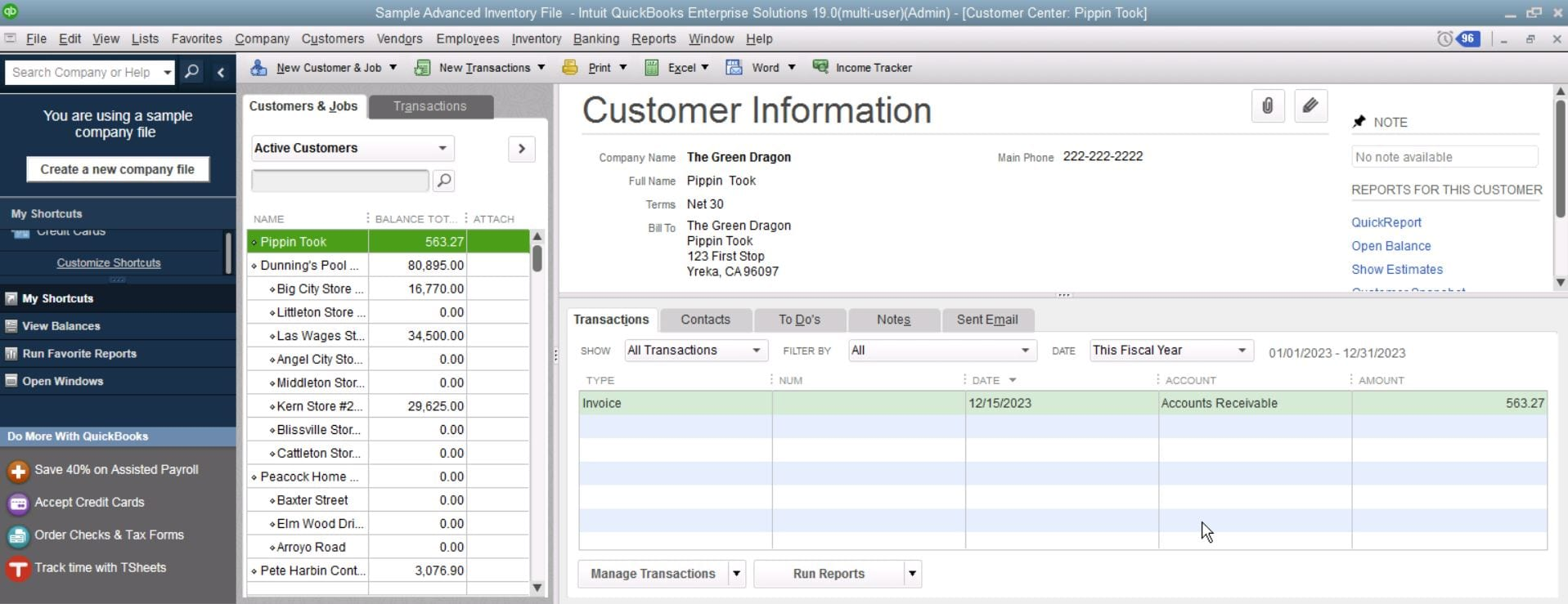 QuickBooks Enterprise Customer Information