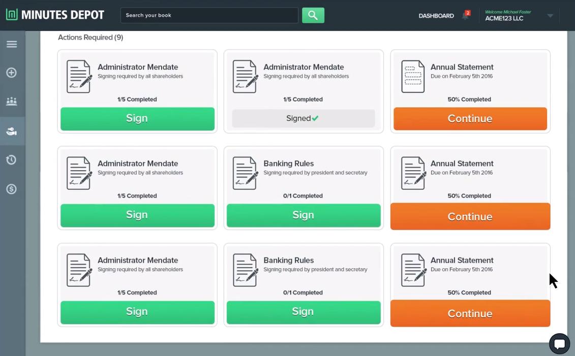 Minutes Depot Software - Minutes Depot actions pending