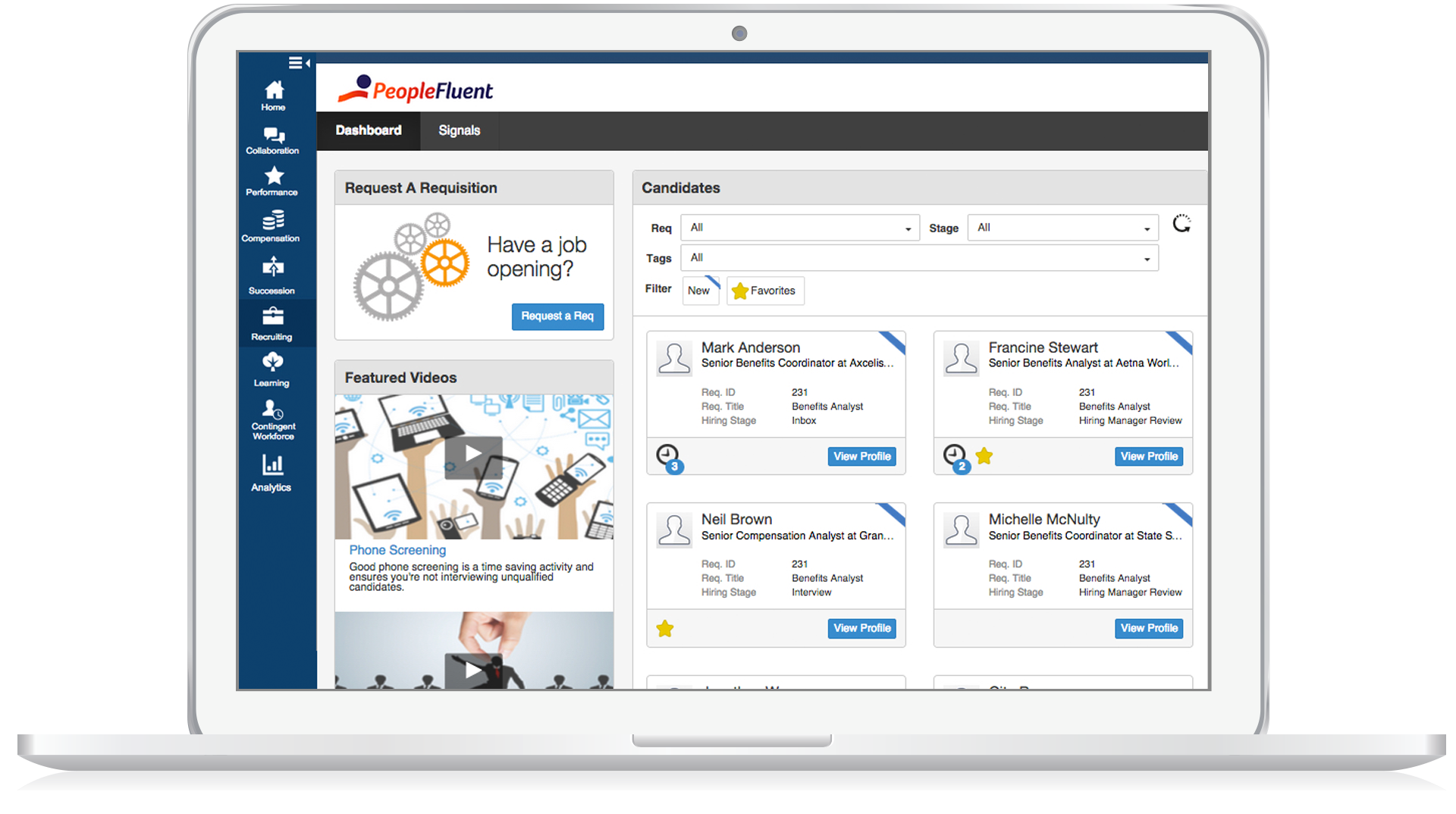 PeopleFluent Learning Software - Candidate filtering