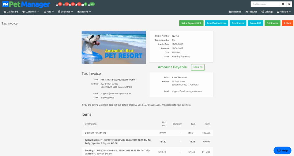 Pet Manager tax invoice