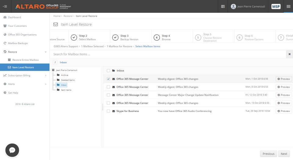 Altaro Office 365 Backup data restoration