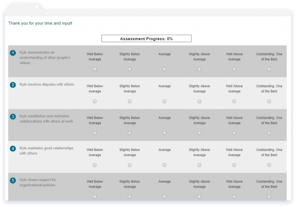 Online reference check assessments are simplified with multiple choice answers and can be completed anonymously