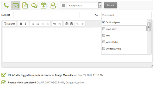 Email integration allows users to send and receive emails directly within Influx MD