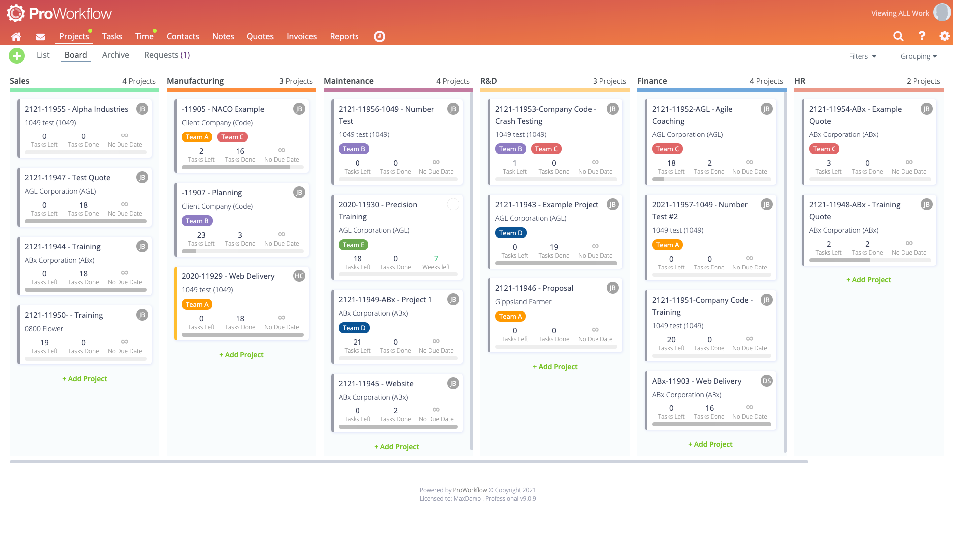 ProWorkflow Software - Kanban Board- agile project management tool designed to help visualize work, limit work-in-progress, and maximize efficiency