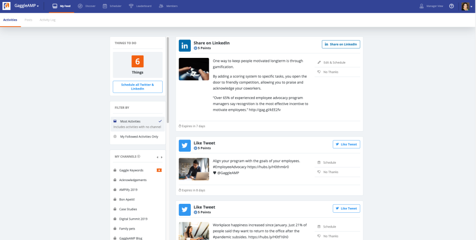 This is one of the most powerful areas for employees to engage and interact with content. Here they can share content to their social channels, see when content is expiring, and also engage with external and internal Channels.
