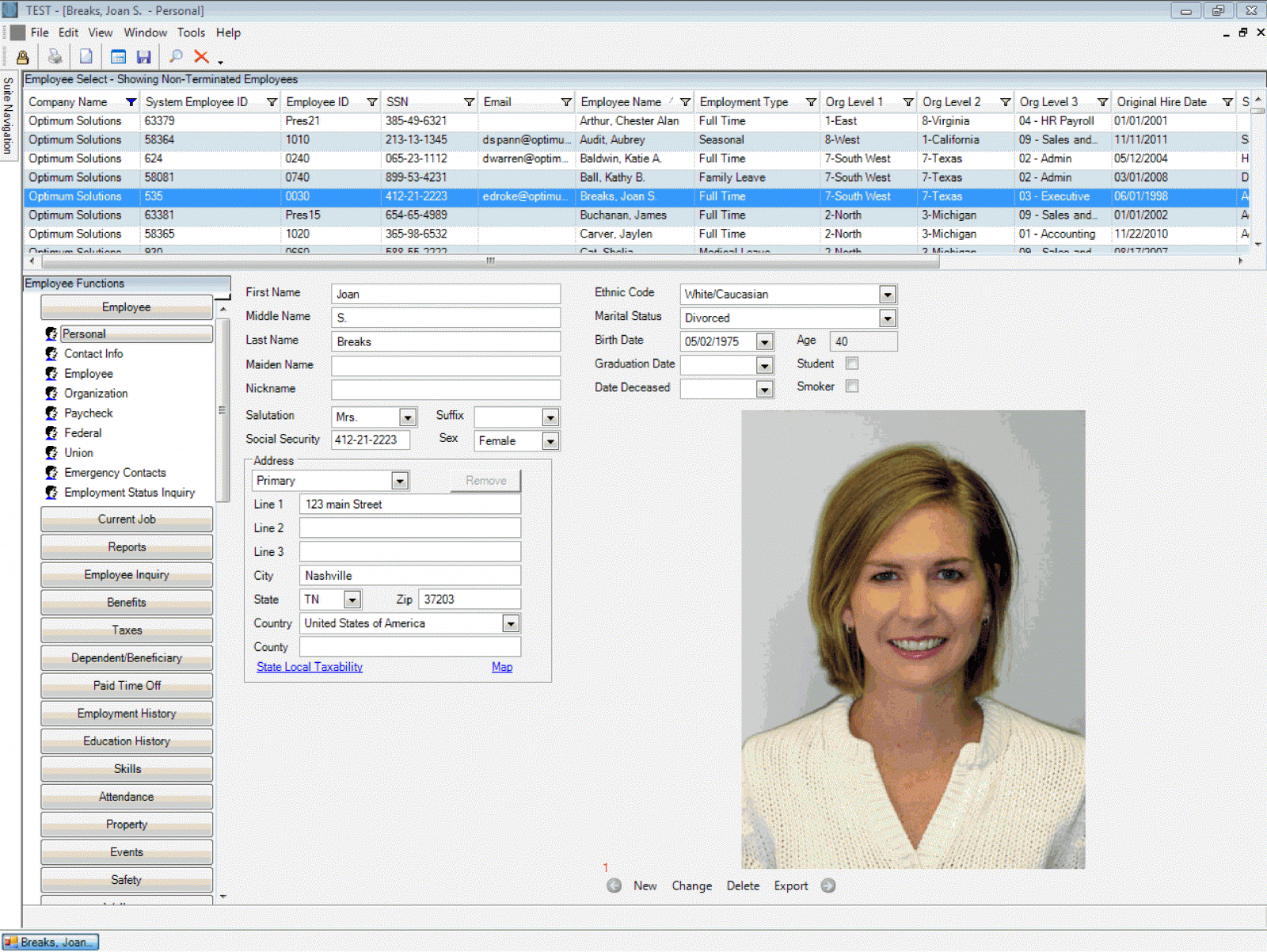 Optimum HR's client server interface with an example of employee personal info fields