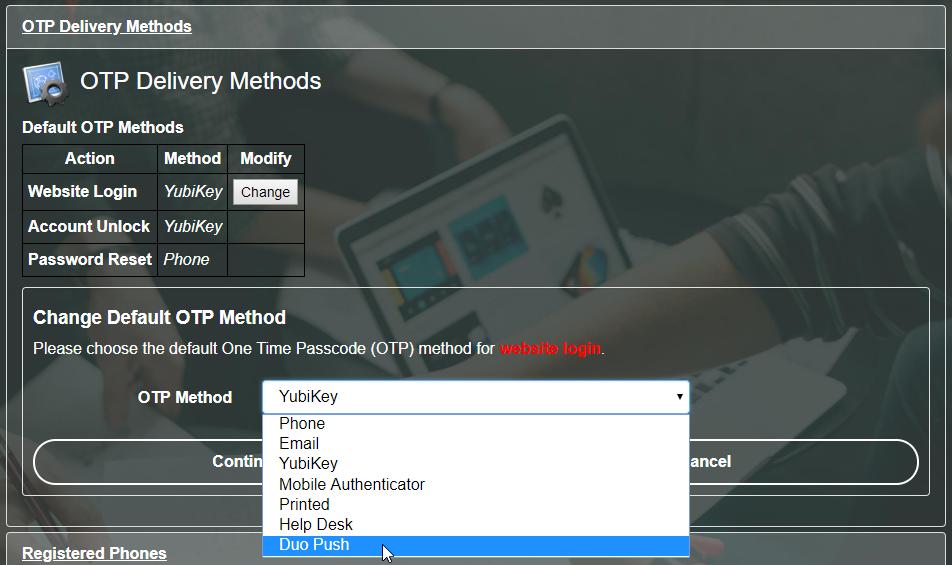 PortalGuard Default OTP Options