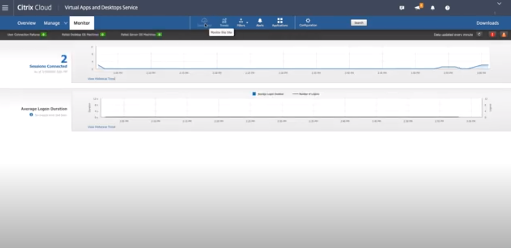 Citrix Virtual Apps and Desktops monitor connected sessions