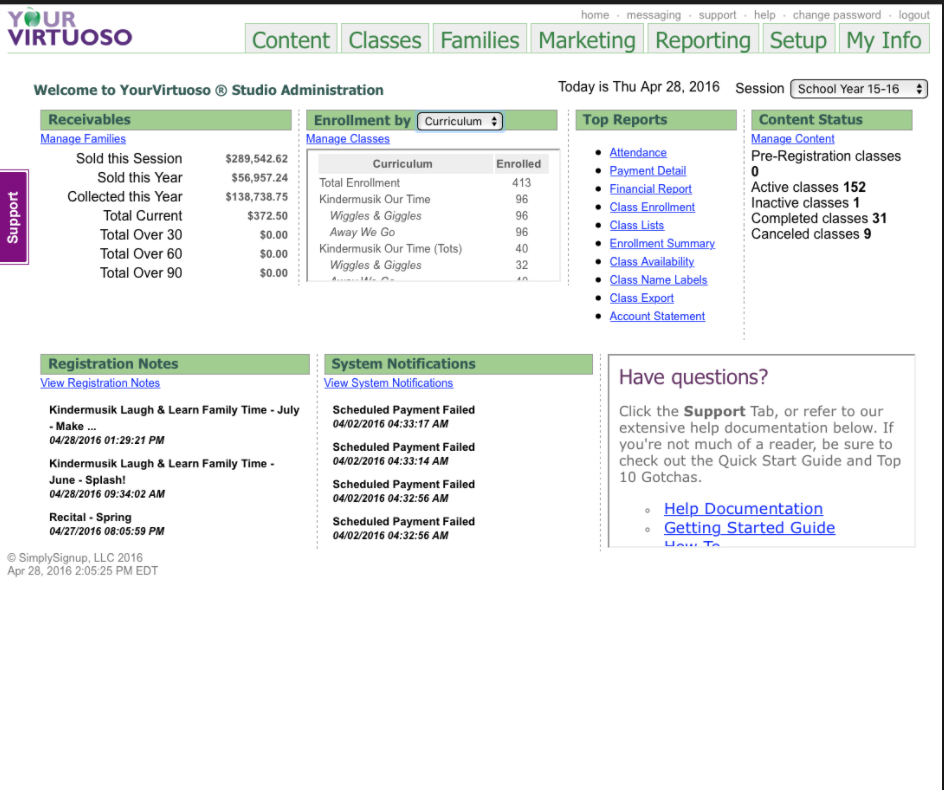 See an instant summary of sales for the session and year, and enrollments by teacher, location and curriculum