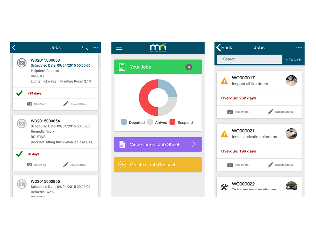 MRI's mobile maintenance apps allows users to view, manage and create work orders on mobile devices, attach camera photos and perform audits on  equipment or assets by their location using barcode scanning support