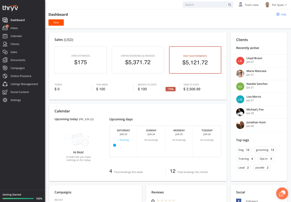 The dashboard provides users with an overview of finances, calendar events clients, campaigns, and more
