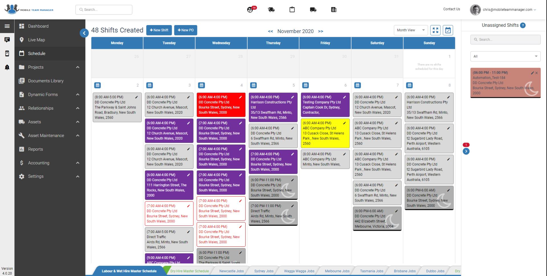 Month view interactive schedule*