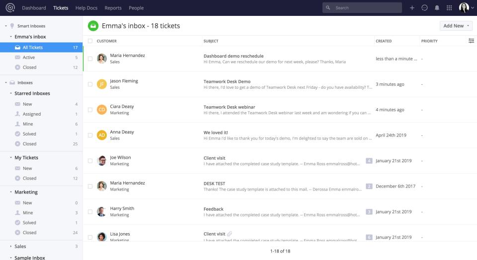 Teamwork Desk Software - Desk 2.0 Smart Inbox