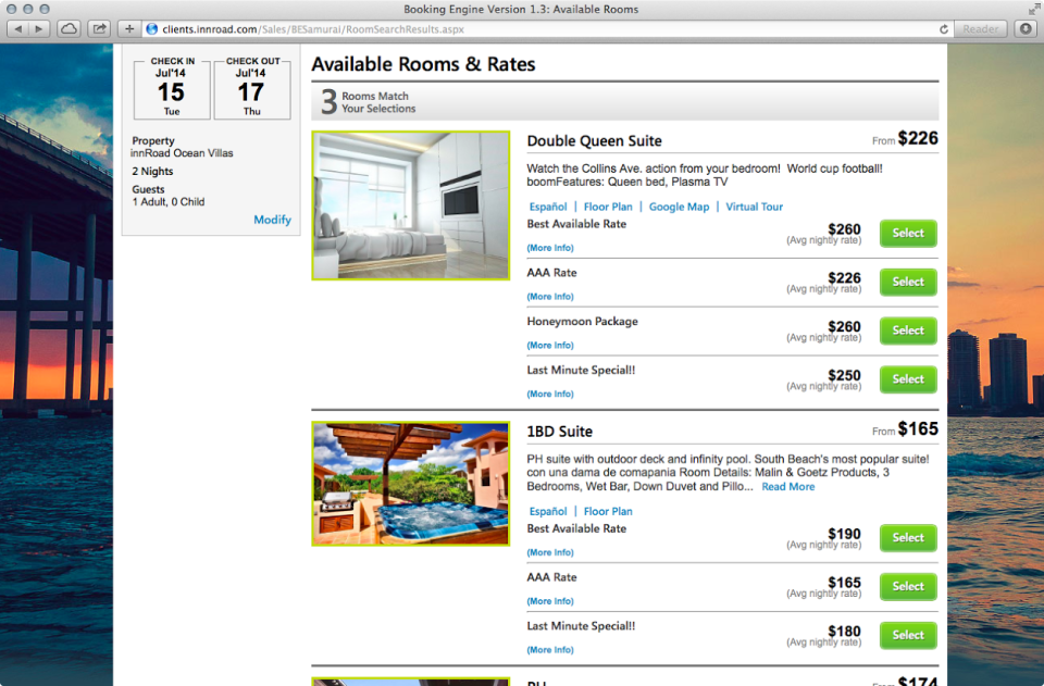 The mobile-ready booking engine lists hotel services, prices and availability with global online travel agents