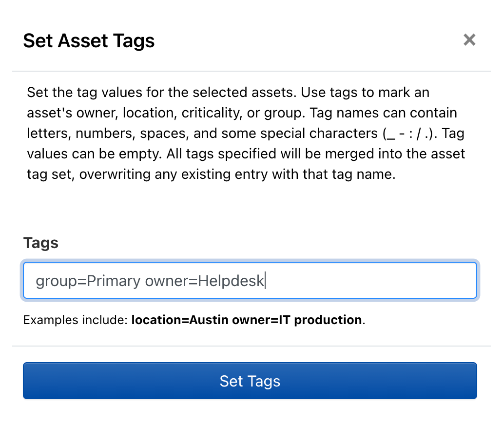 Rumble asset tags