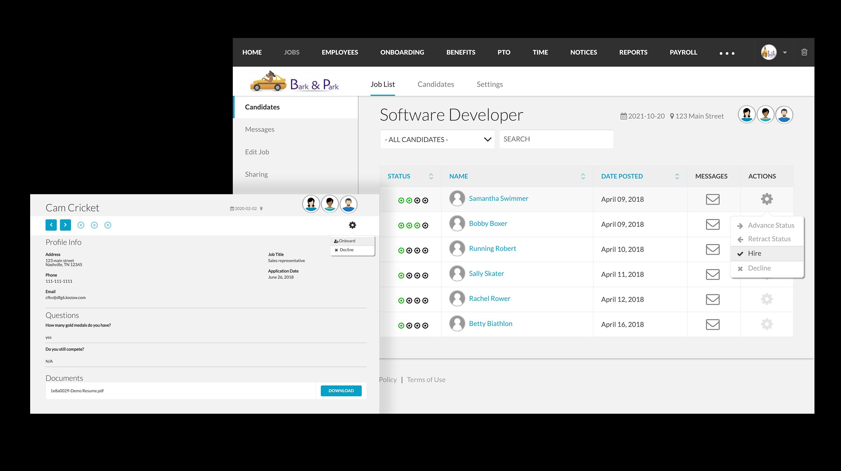 BerniePortal Software - Applicant tracking