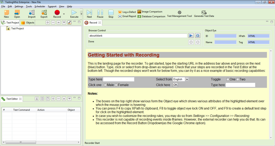 TestingWhiz record test projects