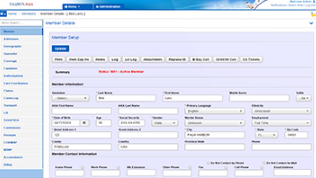 HealthAxis dashboard