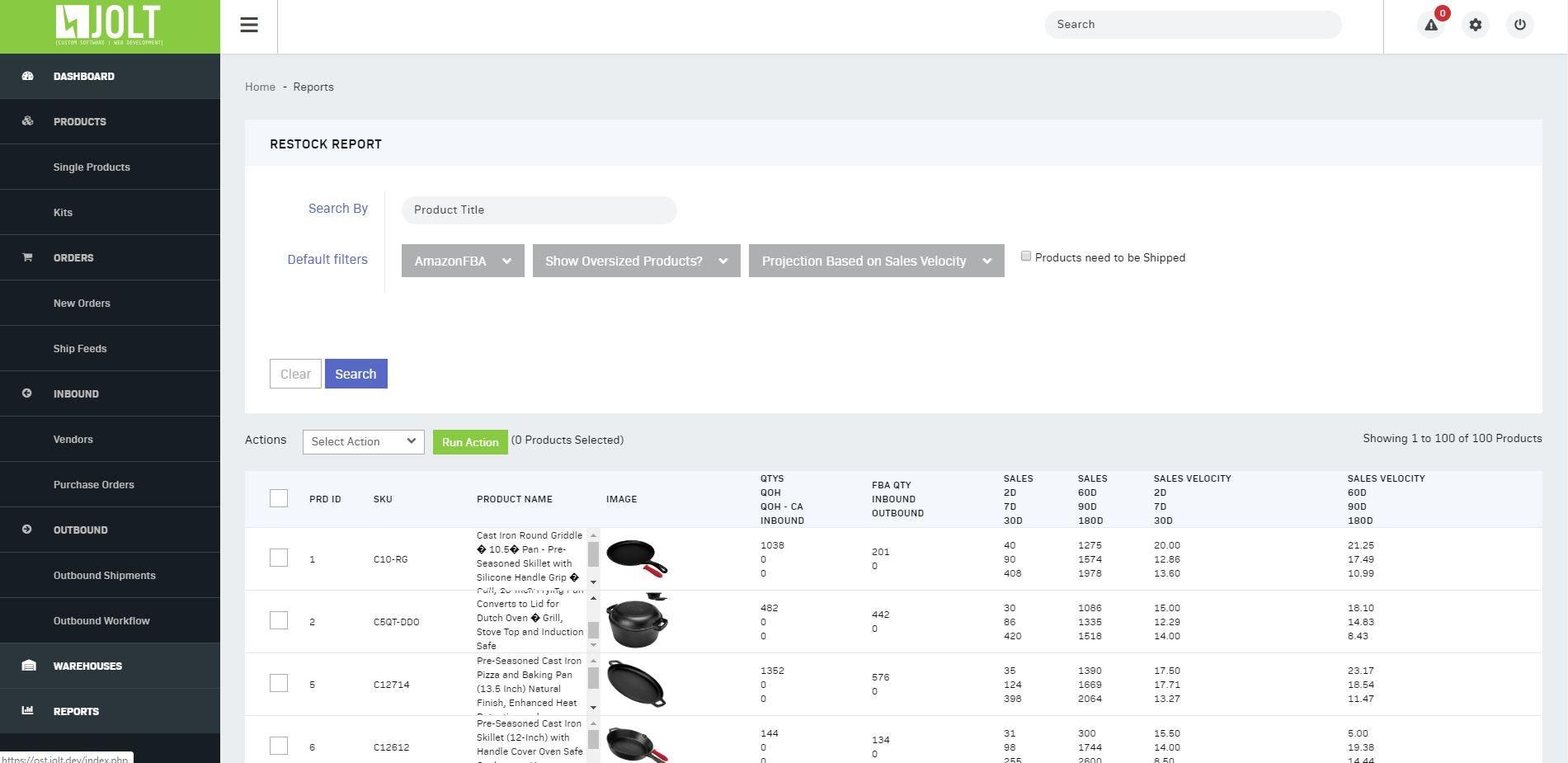 Jolt Fulfillment System Software - Jolt Fulfillment System Restock report