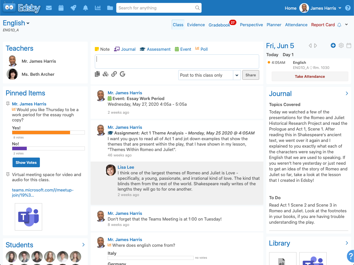 Edsby screenshot: A teacher's view of an Edsby class, the heart of the Edsby learning and analytics platform