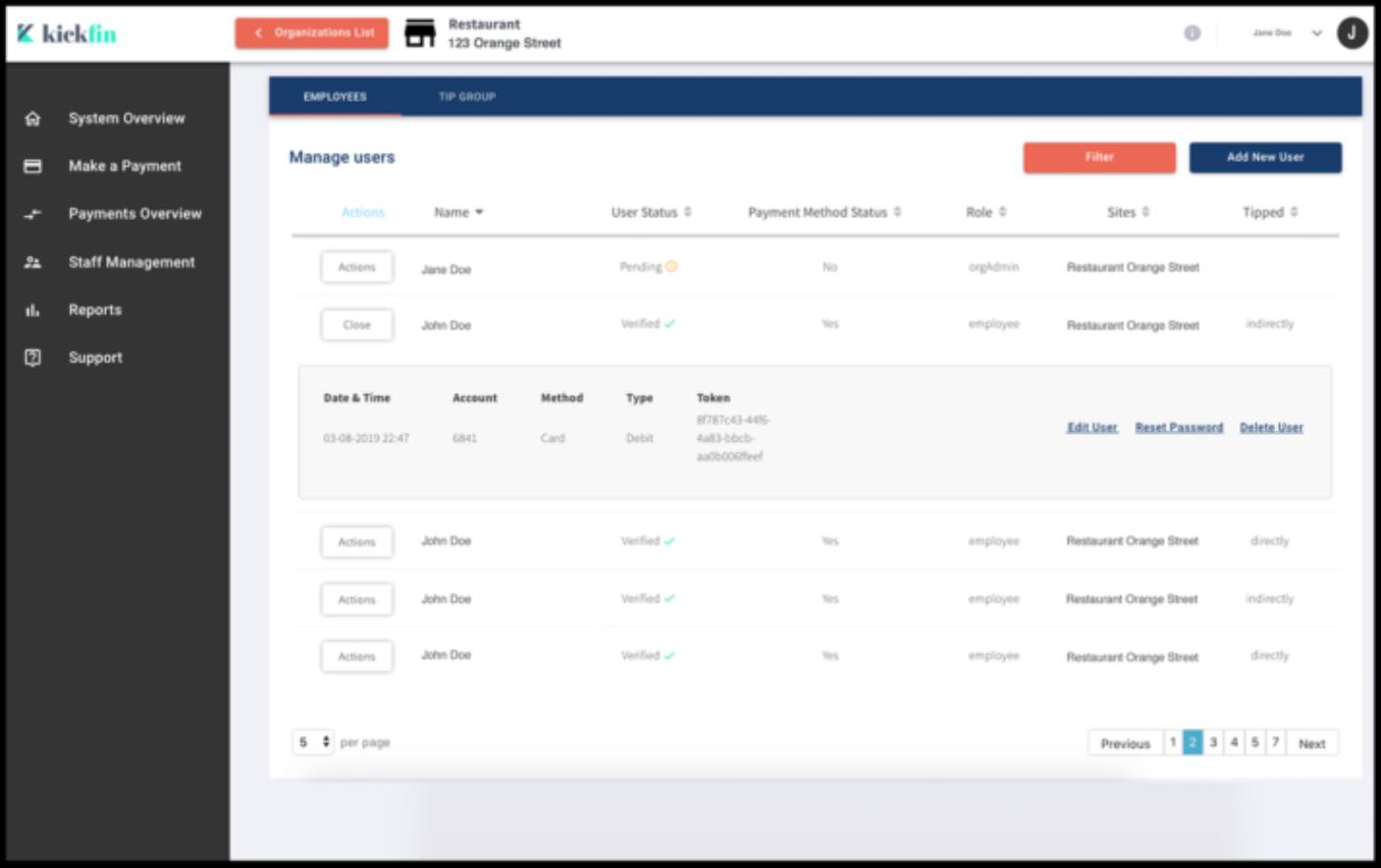 KickFin Software - Kickfin user management