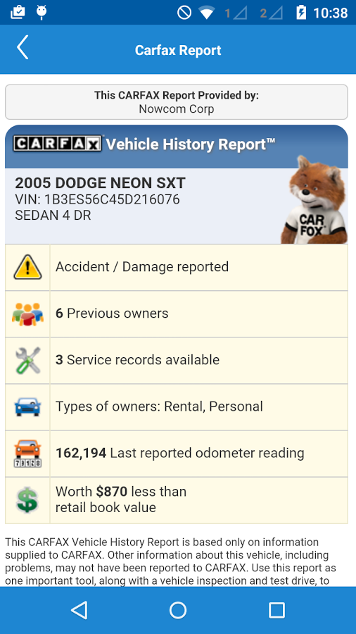 Example Carfax vehicle history report as seen on the DealerCenter Mobile app for Android