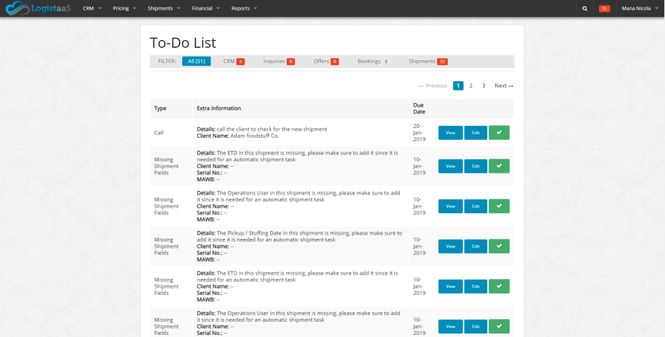 The To-Do list allows users to prioritize tasks