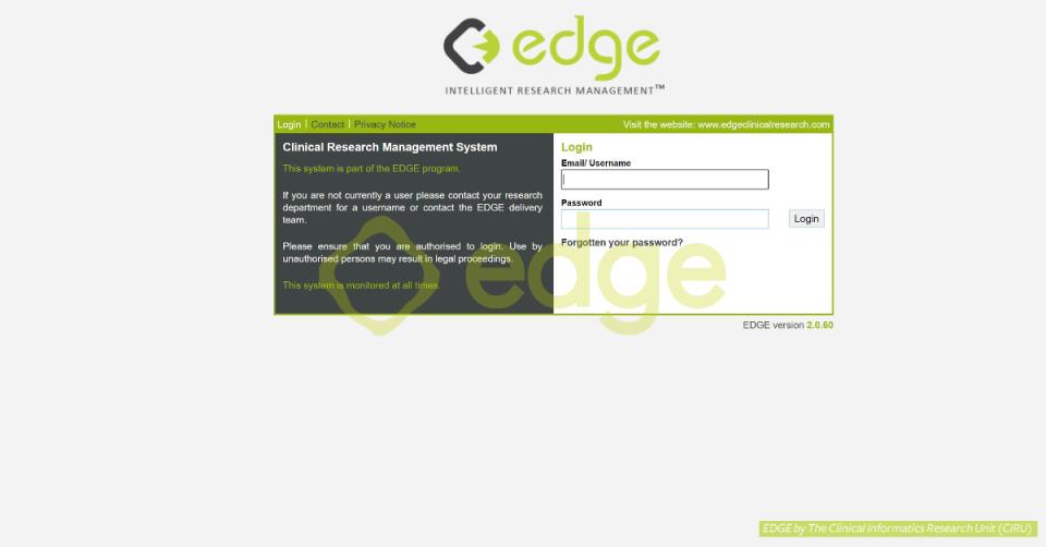 EDGE login screen