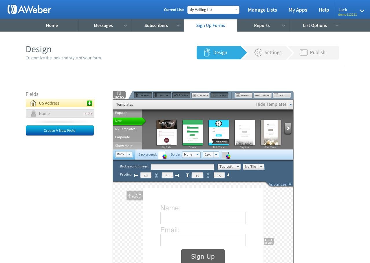 AWeber Software - Sign-up form