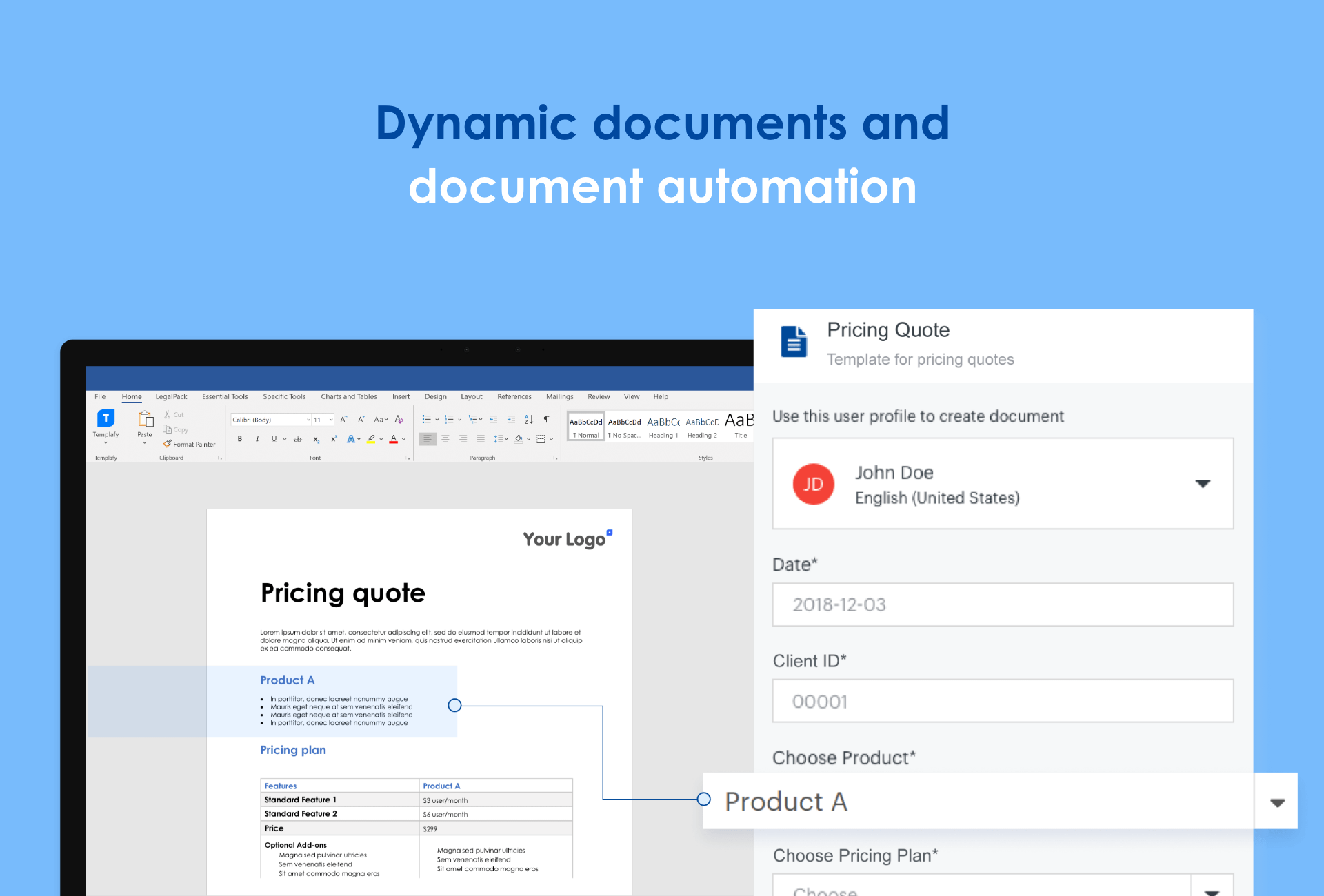 Automate compliance into your business documents using a smart template that auto-populates using company-approved materials only.