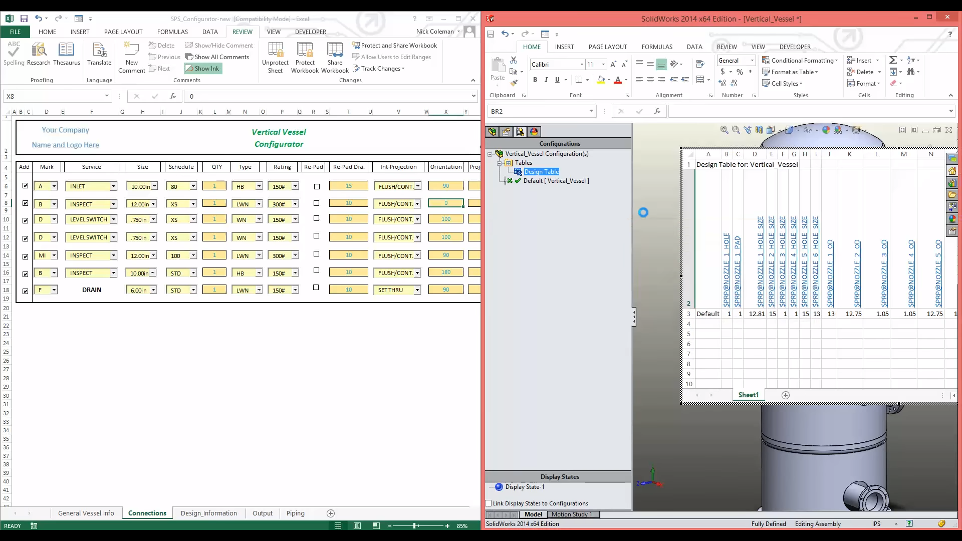 3D CAD Automation design table screenshot