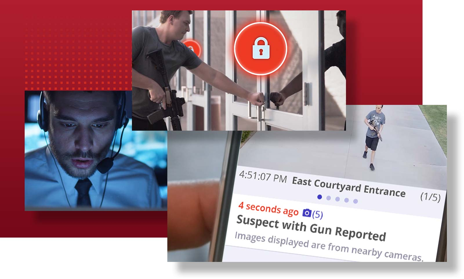 24/7 Human Verification, Automatic Lockdown (as soon as a threat is detected or verified), & Mass Emergency Notifications (delivered to your team's SeeSay apps)