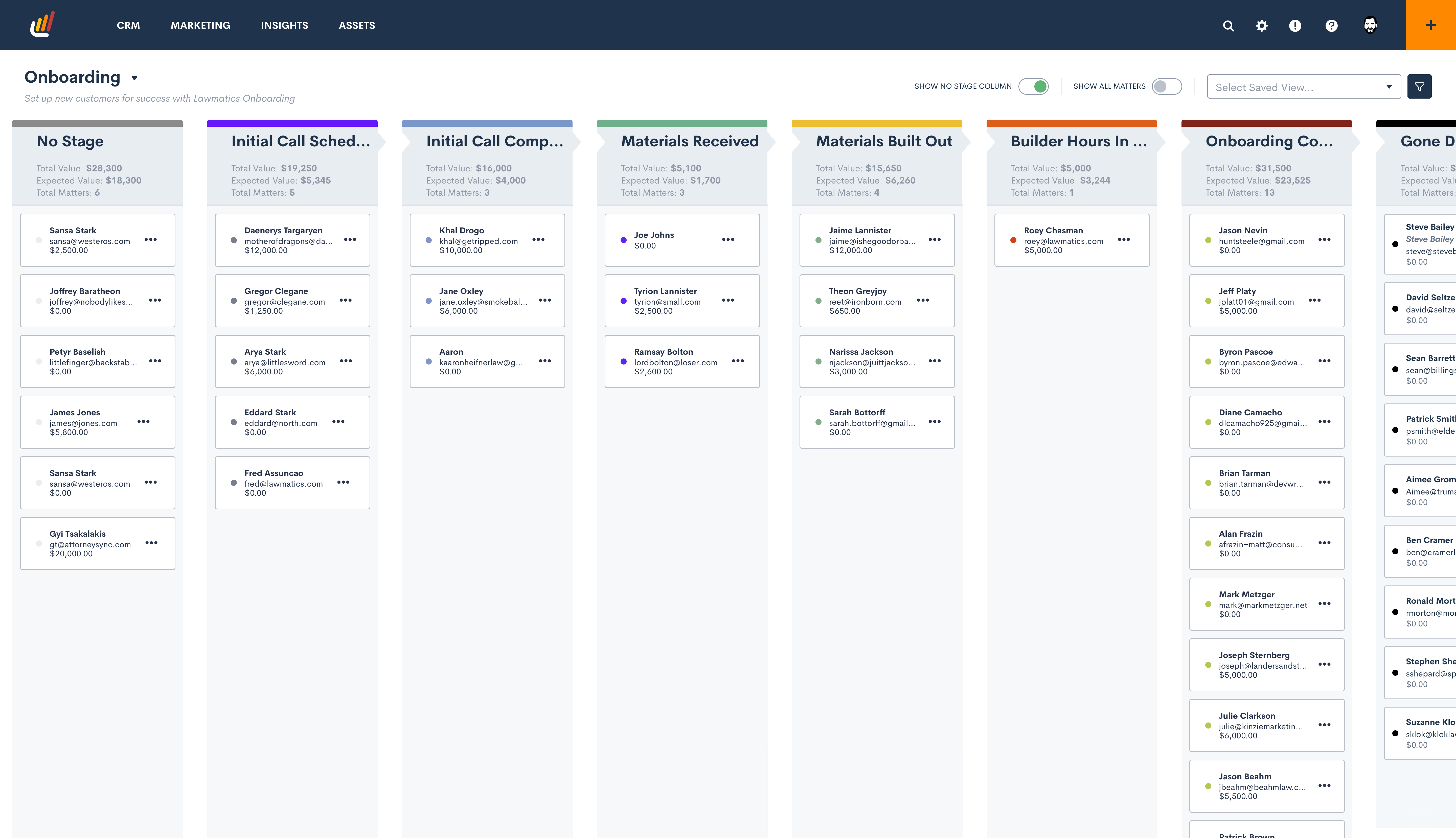 Pipeline view gives you a visual of where all matters stand at any given time. You can customize the pipeline stages to meet your firm's unique needs and processes. You can even have multiple pipelines to organize your leads according to their status.