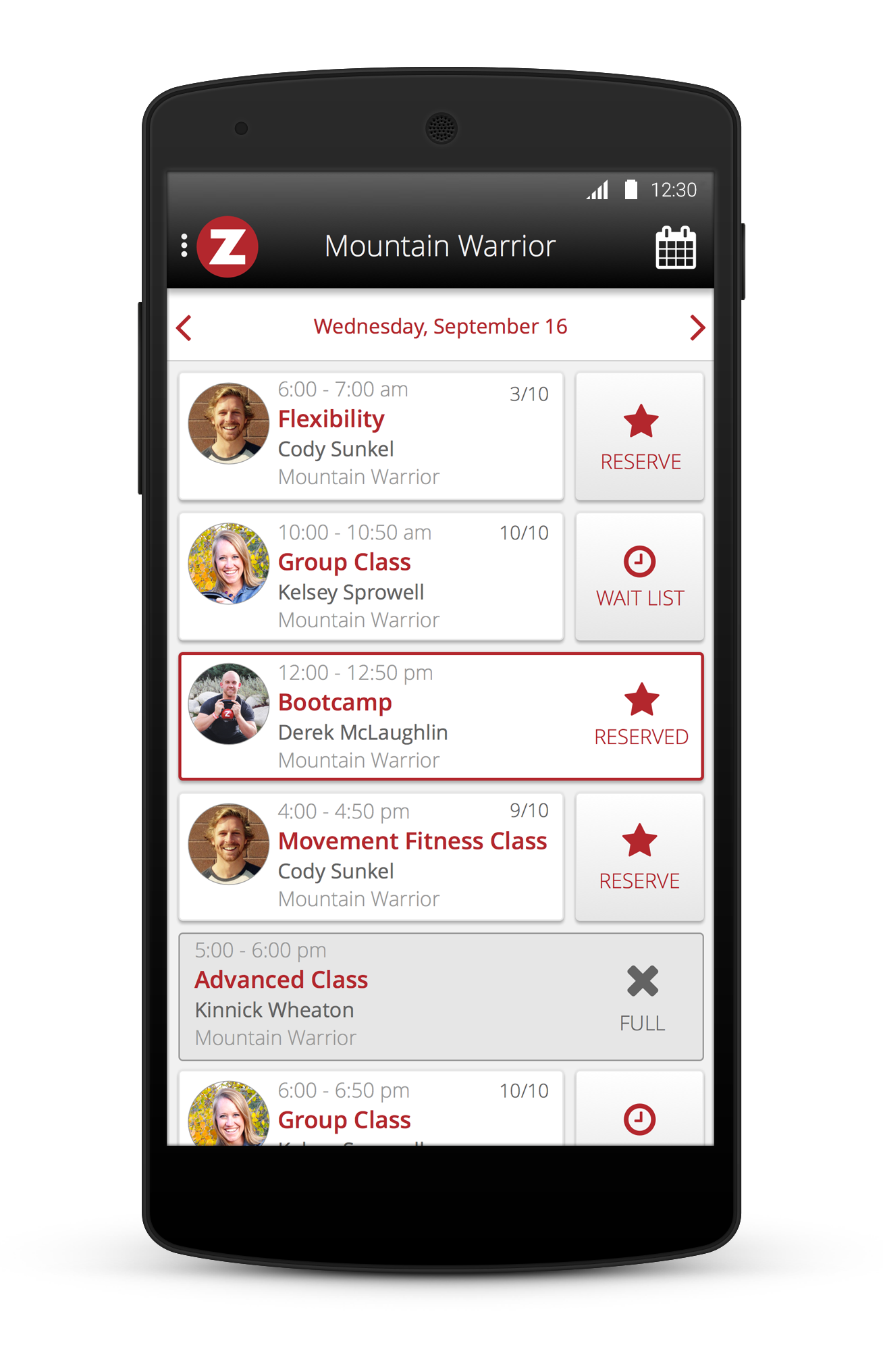 Within the easy-to-navigate app, members can view available classes and quickly reserve their spot with a single tap. To help with class selection, individuals can also see which of their fellow athletes have signed up for a specific class.