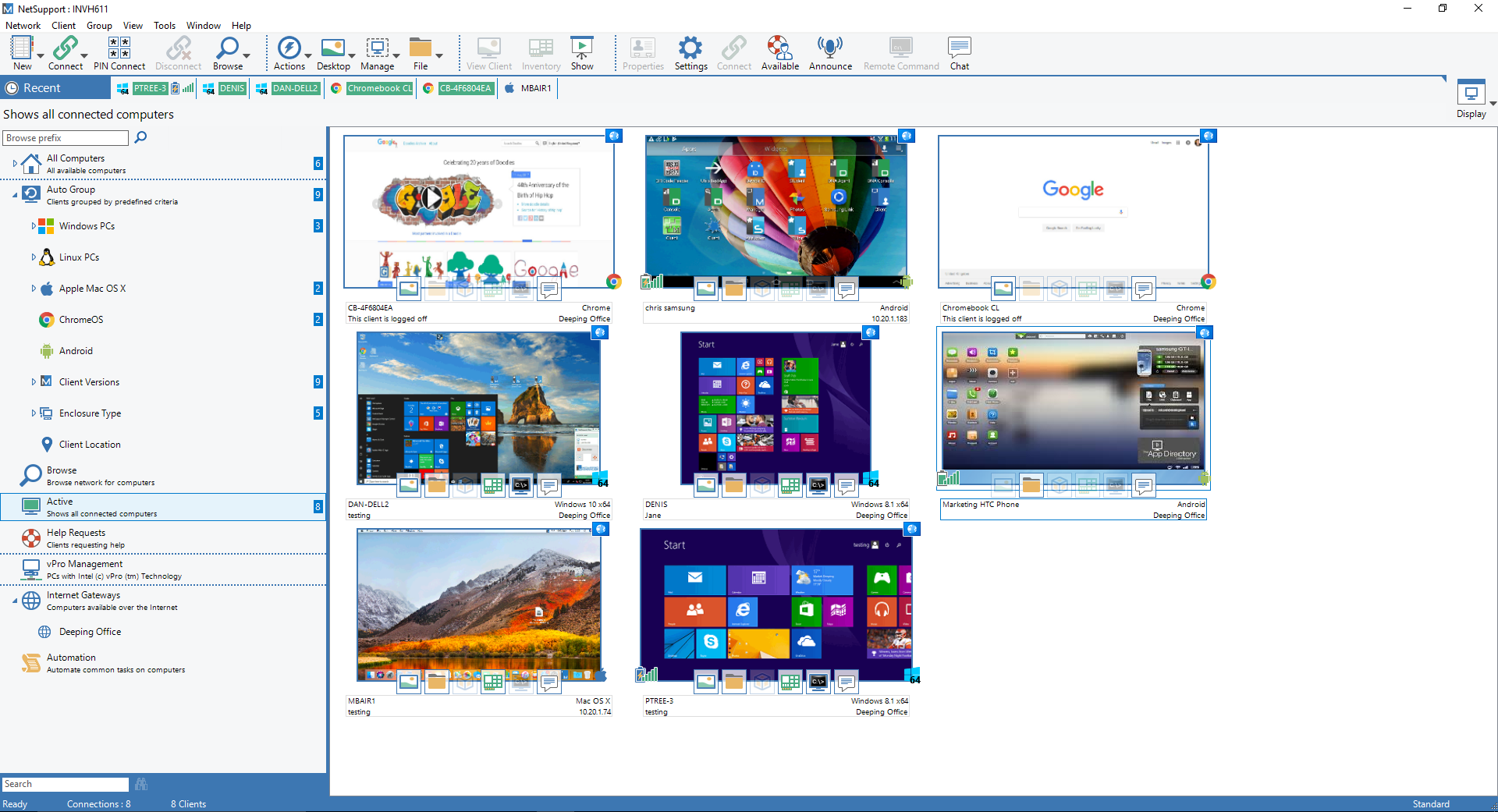 NetSupport Manager Thumbnail View - Monitor multiple devices in a single view.