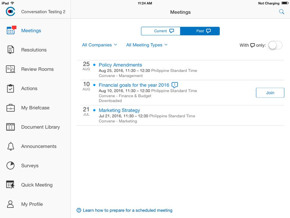 Azeus Convene Software - Convene interface