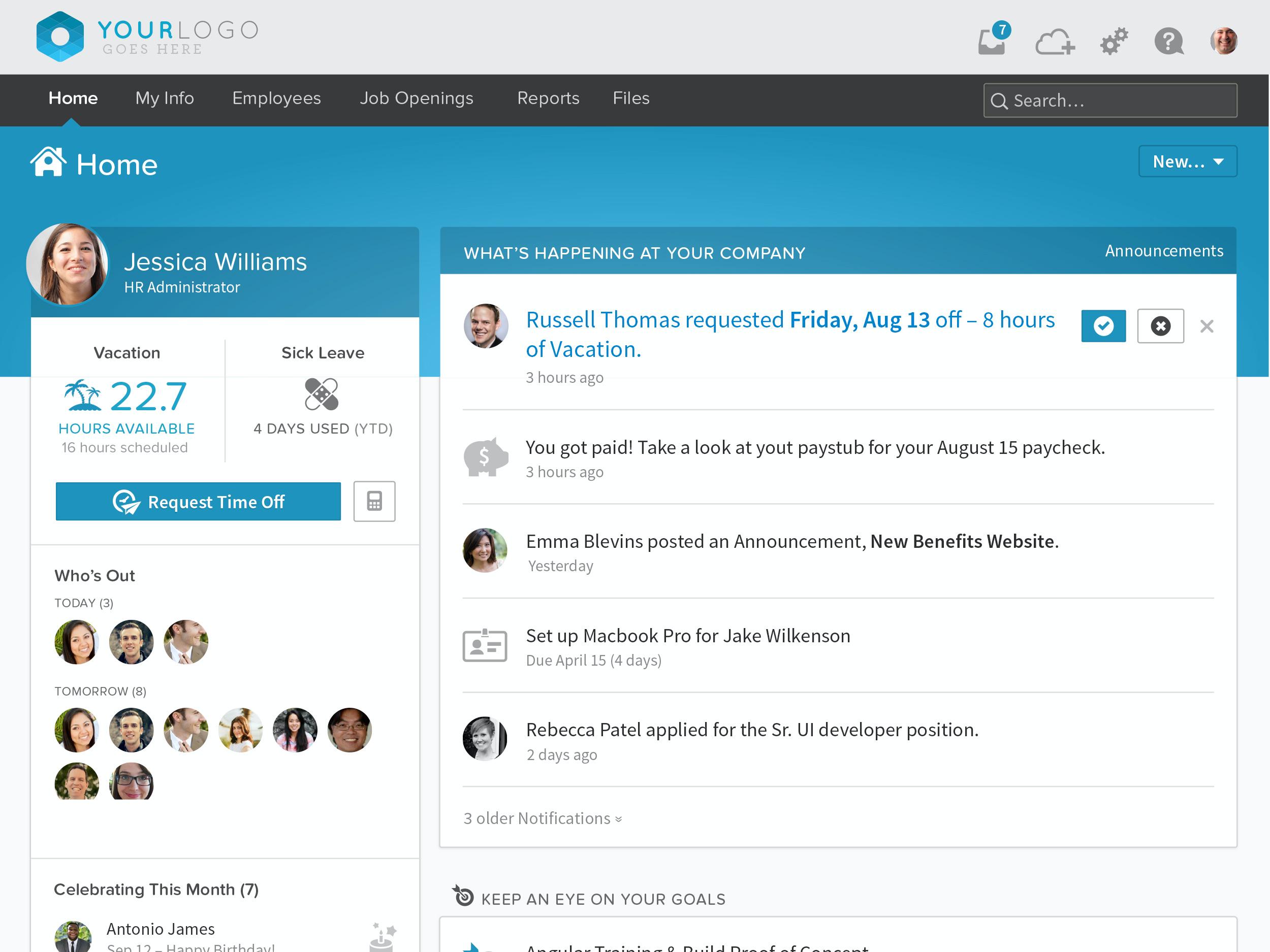 BambooHR screenshot: BambooHR Employee Home