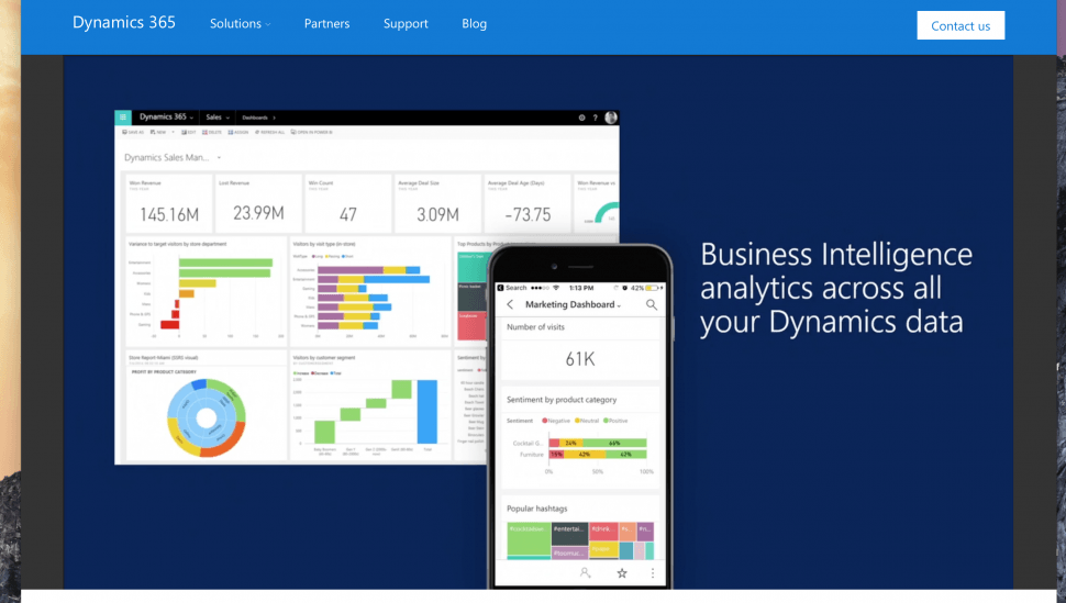 Microsoft Dynamics 365 desktop & mobile view