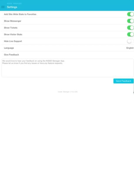 INSIDE mobile application settings
