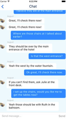 Event staff can communicate with one another using the Connect Space Planner mobile app
