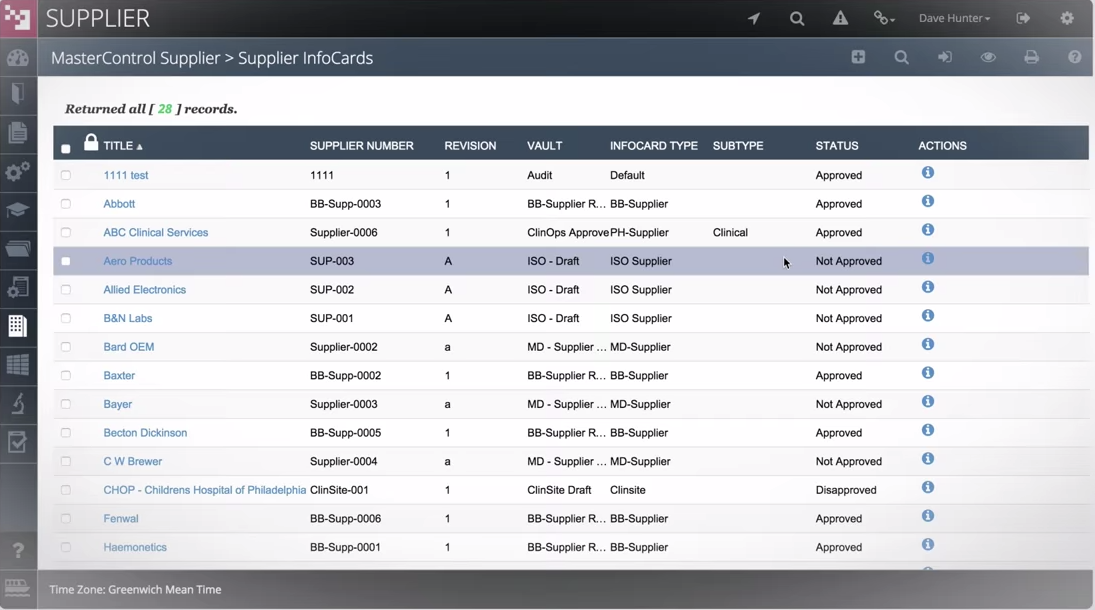 Within the supplier module, vendor lists are tracked and approved in a centrally connected location