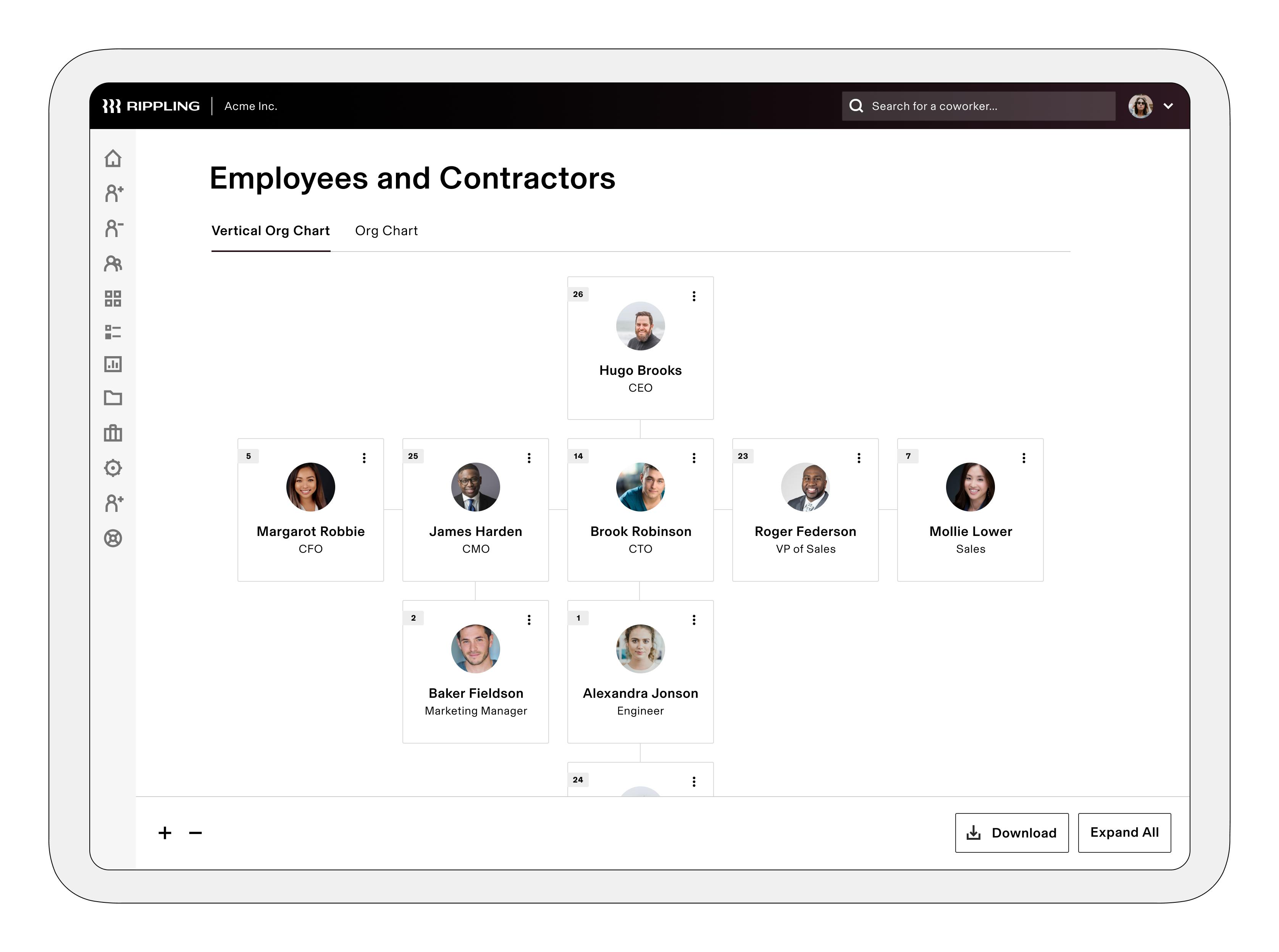 Rippling screenshot: Org Chart