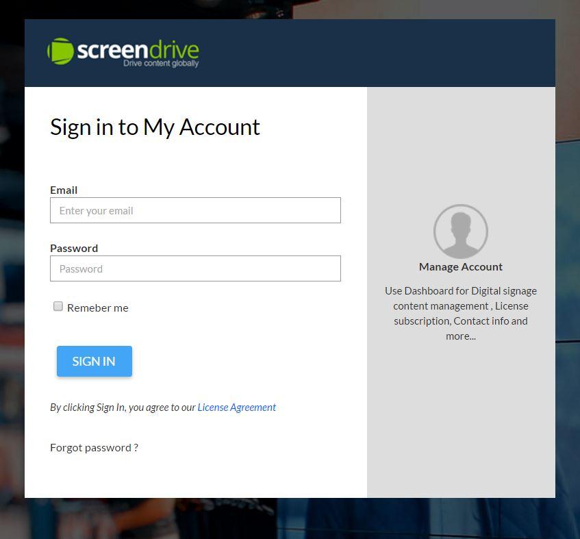 Screendrive user login page