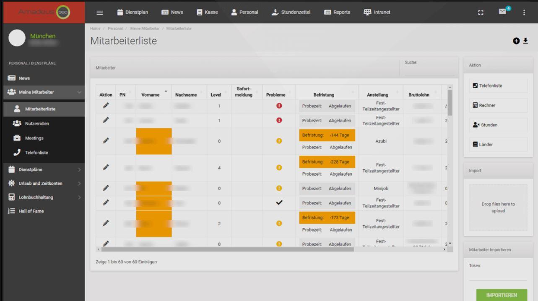 Amadeus360 screenshot: Amadeus360 employee list