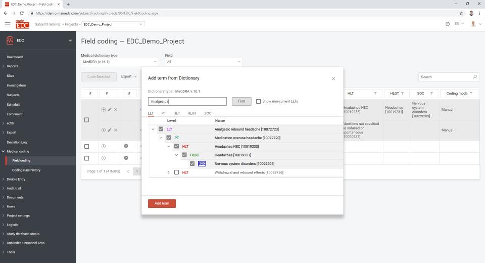 MainEDC screenshot: MainEDC field coding