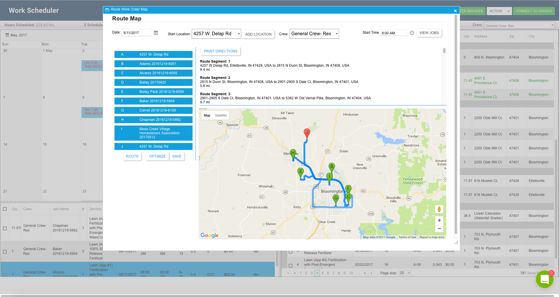 Just one click to organize all jobs in the best possible route/order, showing crews the fastest way to each job site