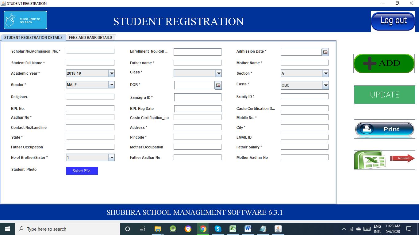 Shubhra School Management student registration